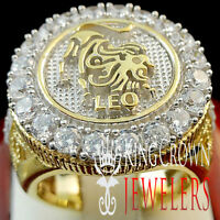 Men 10k Yellow Gold Silver Lab Diamond Leo Lion Lucky Zodiac Designer Pinky Ring