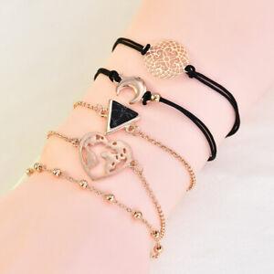 5Pcs-Set-Women-Boho-Heart-Hollow-Map-Moon-Beads-Bracelet-Bangle-Jewelry-Gift