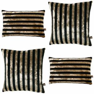 Details About Scatter Box Harley Stripe Velvet Feather Filled Cushion Black Gold