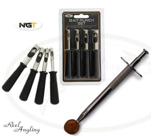 Meat punch set 4 pc /& Boilie Grabber Glug Tool Stainless Carp Coarse Fishing NGT