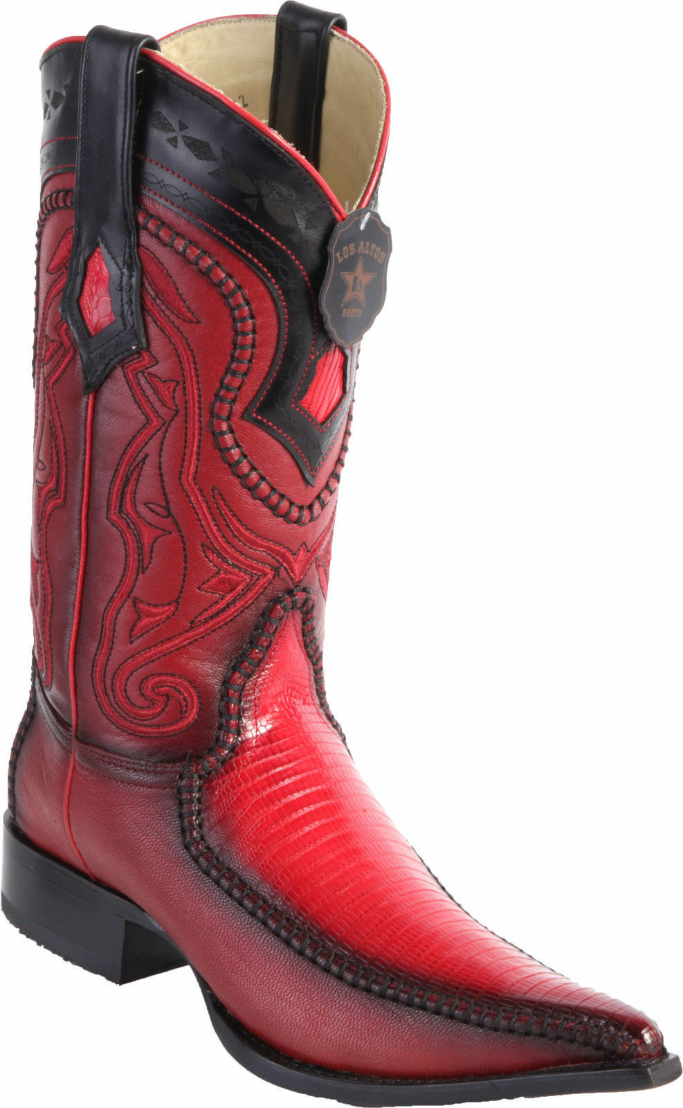 LOS ALTOS RED GENUINE TEJU LIZARD 3X 3X 3X TOE WESTERN COWBOY BOOT EE d000ef