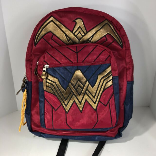 Dc Comics Wonder Woman Backpack School Book Bag Dawn Of Justice Red Blue Gold