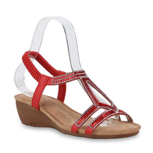 Damen Keilsandaletten Strass Sandaletten Keilabsatz Schuhe Wedges 825849 Trendy