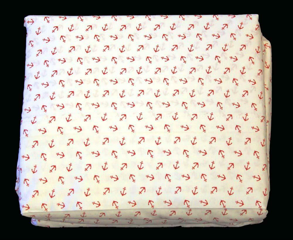 Ralph Lauren Nautical Red Anchors on White 4-Pc QUEEN Sheet Set NIP DISC Design