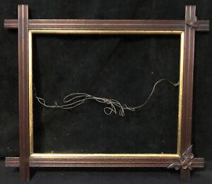 Antique Arts & Crafts Wood Frame Gilded Carved Leaves Adirondack Style Mission
