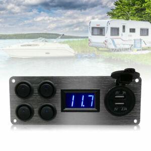 12V-24V-Campervan-RV-Camper-Switch-Panel-For-LED-Lights-Voltmeter-Dual-USB-New