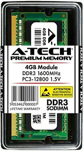 A-Tech 4GB PC3-12800 Laptop SODIMM DDR3 1600 MHz 204-Pin Notebook Memory RAM 4G