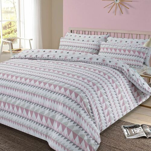 BLUSH PINK SINGLE DOUBLE /& KING SIZE REWIND GEOMETRIC DUVET COVER SET GREY