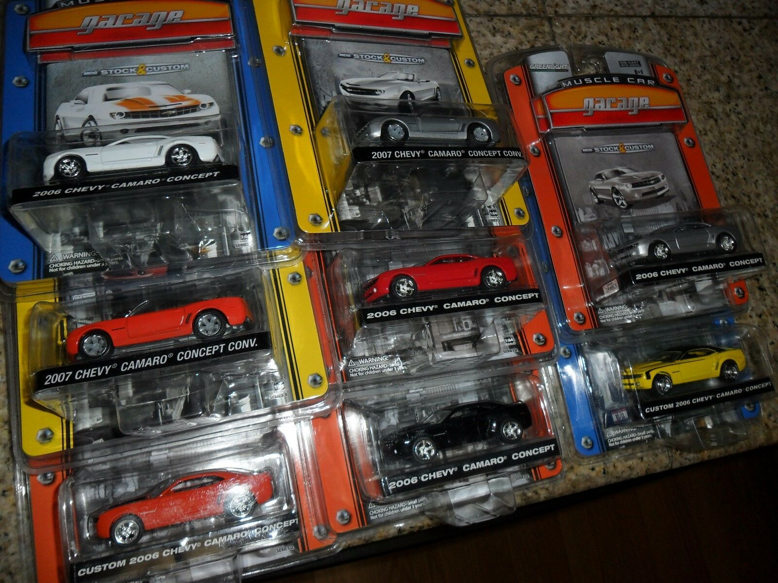 8 LOT Greenlight Muscle Car Garage 2006 & 2007 Camaro Concept orange White Black