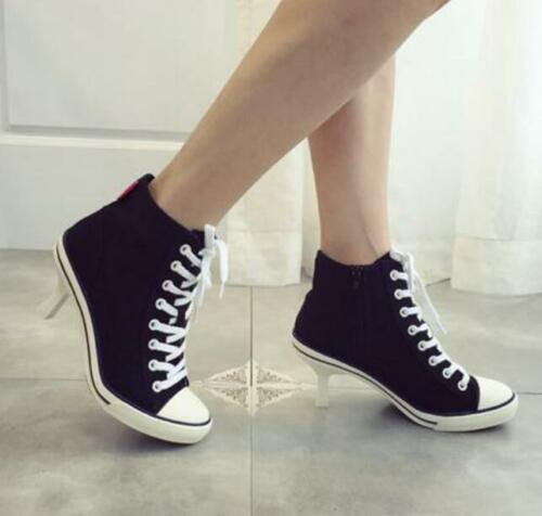 WomenLace Up High Top Canvas Ankle Boots Stiletto Heel Shoes Pointed Toe Sneaker