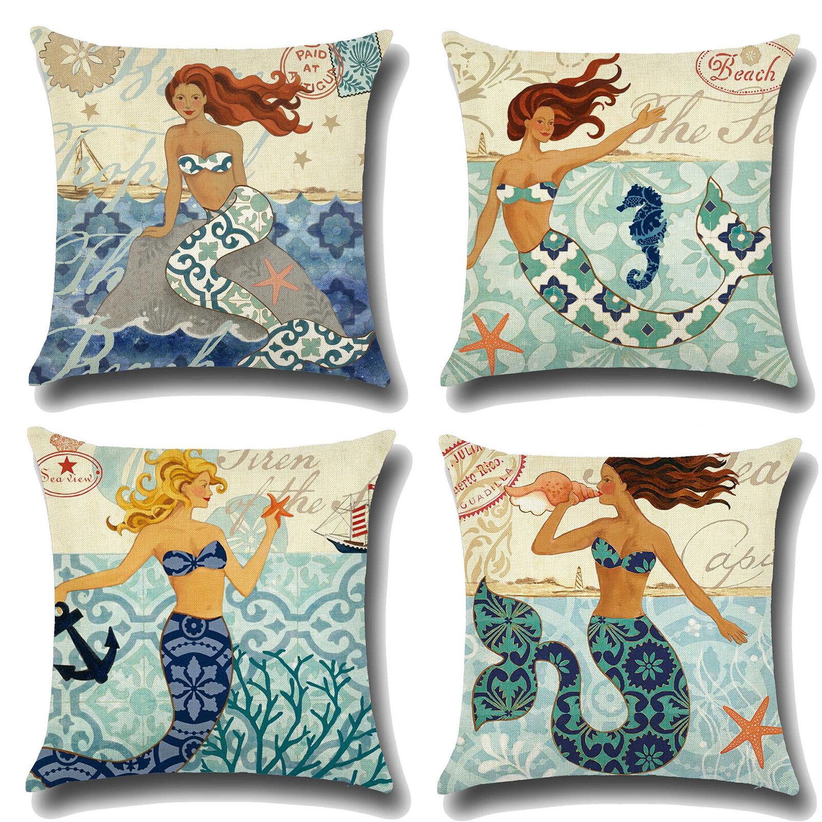 Home Decor Soft Cushion Cover Pillow Mermaid  Cotton Linen Sofa Car Pillow Case