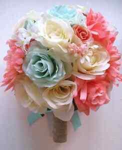 17 pc wedding bouquet bridal silk flowers coral mint peach cream set image is loading 17 pc wedding bouquet bridal silk flowers coral mightylinksfo Images