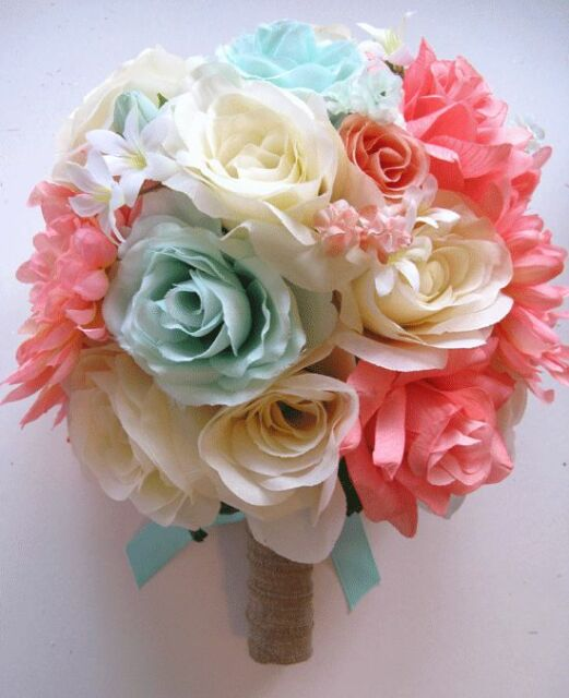 5pc Wedding Bouquet Bridal Silk flowers CORAL MINT PEACH CREAM set Centerpiece