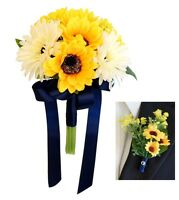 2pc Sunflower Gerbera Daisy Bouquet & Boutonniere Set - Artificial Flowers
