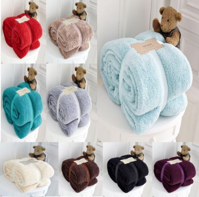 Grey Pink or Beige Luxury Soft Teddy Bear Fleece Extra Large Throw Blanket