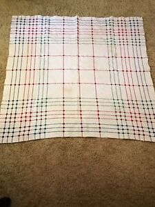 Vintage-1950-039-s-All-Cotton-Picnic-Blanket-Table-Cloth-Red-Blue-Green-Dots-44-034-x40-034