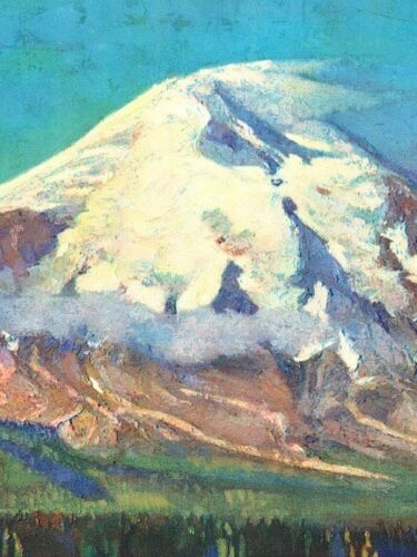 20x28 Mt St Helens 1920s Northern Pacific Vintage Style Railway Travel Poster
