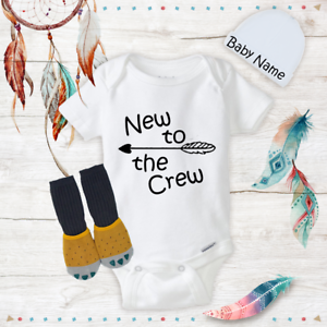 New To The Crew Cotton Unisex Bodysuit Onesie Funny Shower Gift Baby Shirts