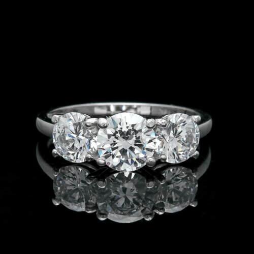 1.27TCW Round Created Diamond Ring Solid 14K White Gold Three Stone Band Size8