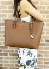 87d049819b0dde Michael Kors Jet Set Travel Medium Carryall Tote Saffiano Leather Luggage  Brown