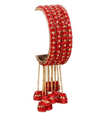 Indien mariage 4Pc rouge suspendu style Latkan Bracelets churi Bollywood Jewelry Set
