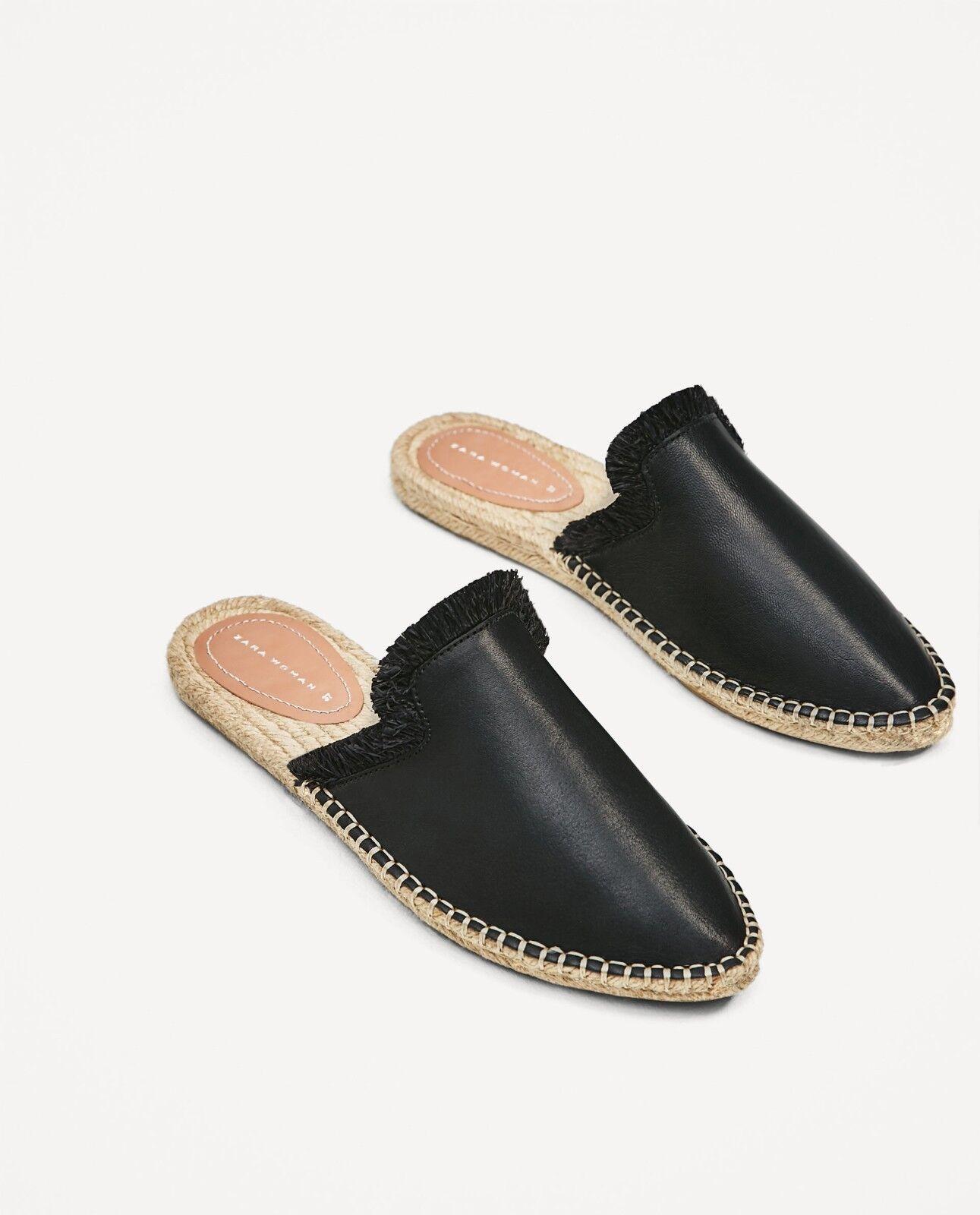 Nuevo Nuevo Nuevo Con Etiquetas Zara diapositivas de Cuero Negro Zapatos Alpargatas tamaño mulas EUR 41 US 10  entrega gratis