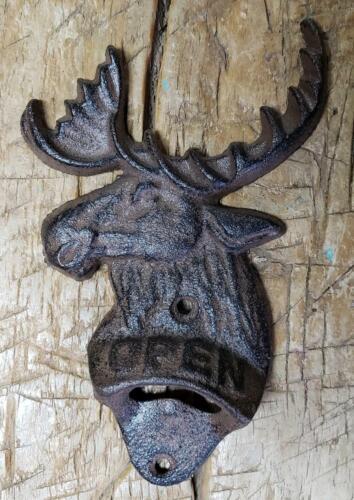 Cast Iron ELK OPEN Beer Bottle Opener Western Wall Mount DEER Man Cave MOOSE