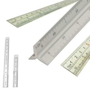 6-034-12-034-amp-Scale-Ruler-Set-Small-Large-Measure-Rule-Metal-Stainless-Steel