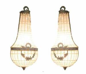 2-Grand-Vintage-Garland-French-Empire-Bronze-Basket-Crystal-Wall-Sconces-Lamps