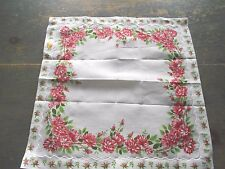 LADIES VINTAGE HANDKERCHIEF WITH  ROSE PINK ROSES -  STILL HAS TAG ON IT