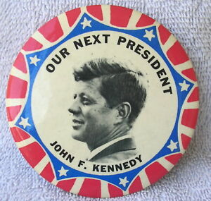 """1960 JOHN F KENNEDY For President 1/"""" political campaign button pin"""