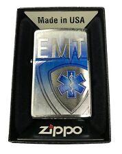 Zippo Custom Lighter Emergency Medical Technician EMT with Shield Brushed Chrome