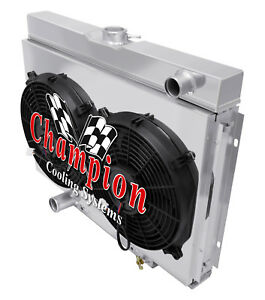 "67-70 24/"" Core Mustang//Cougar 2 Row 1/"" Tubes KR Champion Radiator Fan Combo"