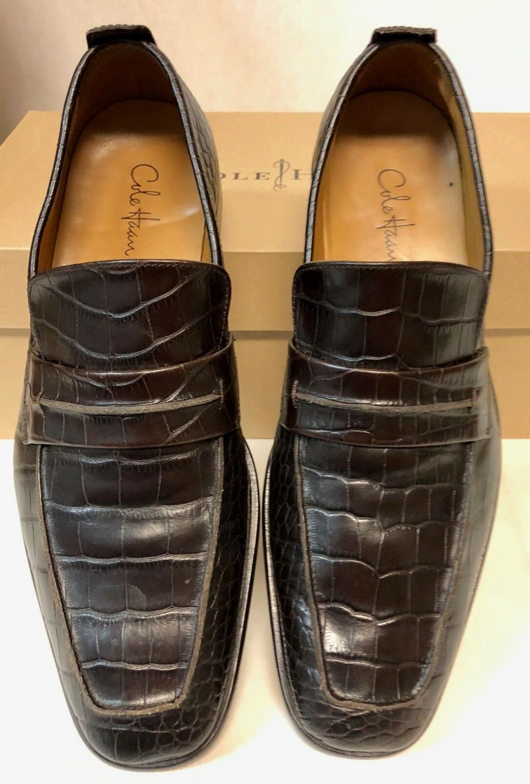 GENTLY USED – Embossed COLE HAAN C05644 Braun ALLIGATOR Embossed – LOAFERS 8.5 M d12245