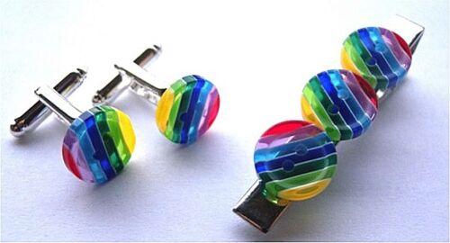 regalo Gratis Bolsa Hermosa Corbata Hecha a mano única PIN Y GEMELOS SET Arco Iris