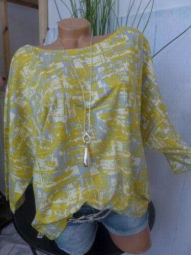 NEUF 367 Sara Lindholm chemisier Shirt Taille 50 à 54 JAUNE A MOTIF