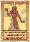 "Vintage Illustrated Travel Poster CANVAS PRINT Egypt train 24""X16"""