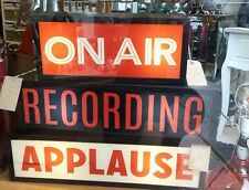 APPLAUSE Light Up Box UK Mains Plug 240v Red White Metal Sign Retro Studio