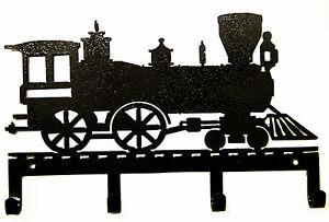 TRAIN ENGINE KEY HOLDER COLLECTIBLE RAILROAD LOCOMOTIVE RUSTIC METAL ART DECOR