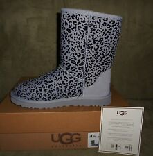 UGG WOMEN'S CLASSIC SHORT ROSETTE  LILAC AND LEOPARD BOOT SIZE 7 NEW IN BOX