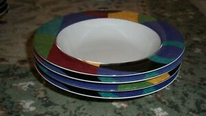 SET-of-4-MIKASA-CURRENTS-4-CEREAL-DESSERT-SOUP-BOWLS-8-1-2-inch-across
