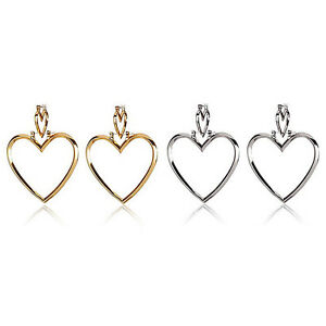 Image Is Loading Fashion 1 Pair Women Hoop Gold Double Heart