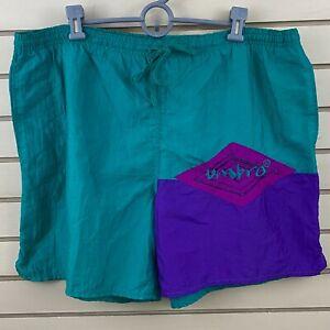 Vtg-Mens-XL-Umbro-Nylon-Soccer-Shorts-Teal-Purple-Pink-Drawstring-Elastic-Waist