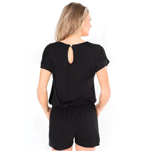 Damen Kurzarm Mini Playsuit Jumpsuit Overall Romper Casual Hosenanzug Sommer