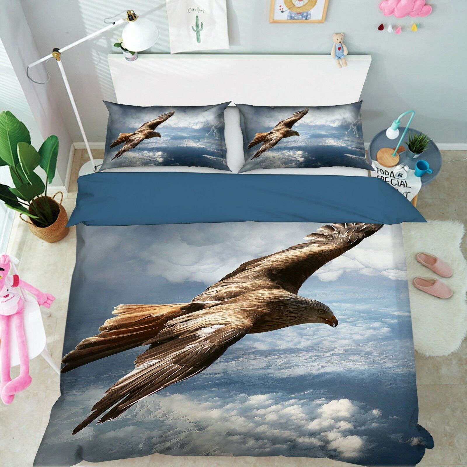 3D Eagle Clouds R122 Animal Bed Pillowcases Quilt Duvet Cover Queen King Zoe
