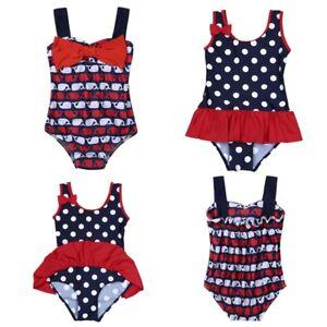 d2f6dfa79825 Image is loading Baby-Girls-One-Piece-Swimsuit-Swimwear-Bowknot-Polka-