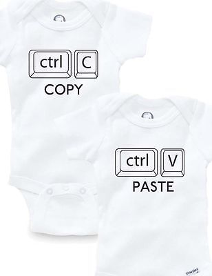 Copy Paste Ctrl Twins Set Of 2 Onesies Baby Clothing Shower Gift Funny Cute