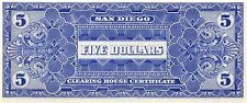 San Diego Clearing House Certificate $5 Series B 3.6.1933  Uncirculated Banknote