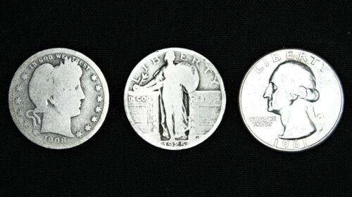 Full Dates Barber Standing Liberty Washington Quarter Lot 3 Coin 90/% Silver