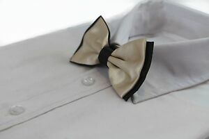 MENS-CHAMPAGNE-BLACK-TWO-TONE-BOW-TIE-Pre-Tied-Formal-Wedding-Party-Fancy-Gold